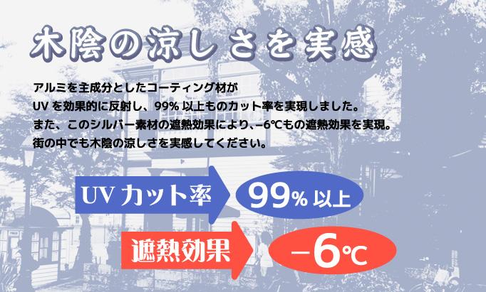 木陰の涼しさを実感 UVカット率98.8% 遮熱効果 -6度